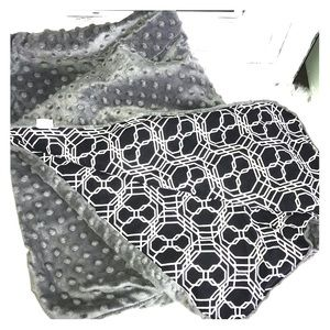 Carseat Canopy with grey minky background